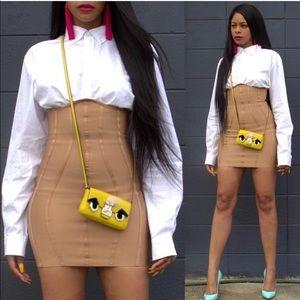 Brown/nude high waisted underboob skirt